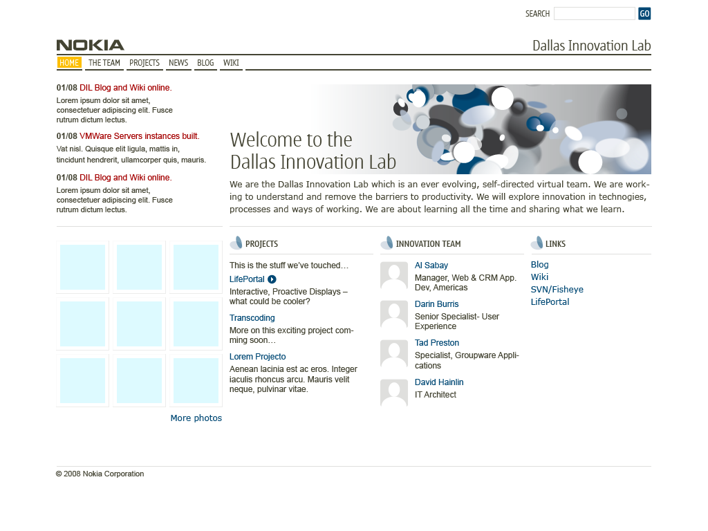 Screenshot of the Dallas Innovation Labs site design