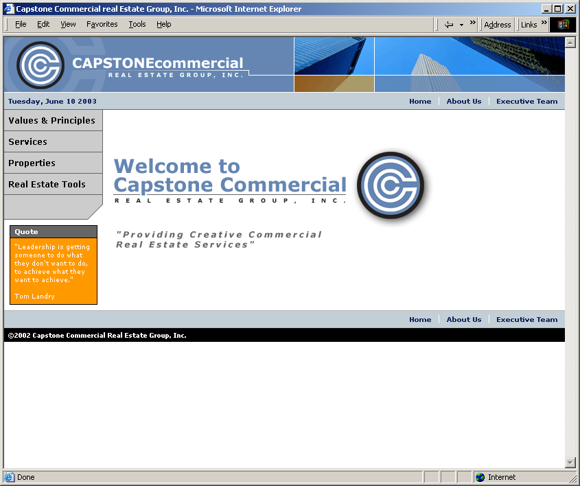Screenshot of the Capstone Commercial site design